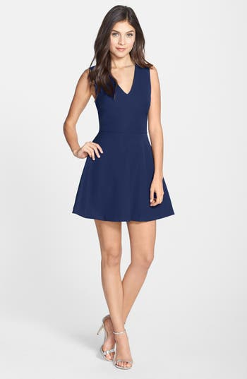 Felicity & Coco Bianca Back Cutout Fit & Flare Dress, Blue