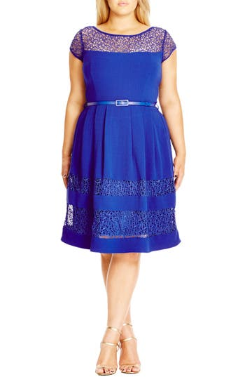 Plus Size City Chic Fit & Flare Dress With Delicate Lace Insets, Blue