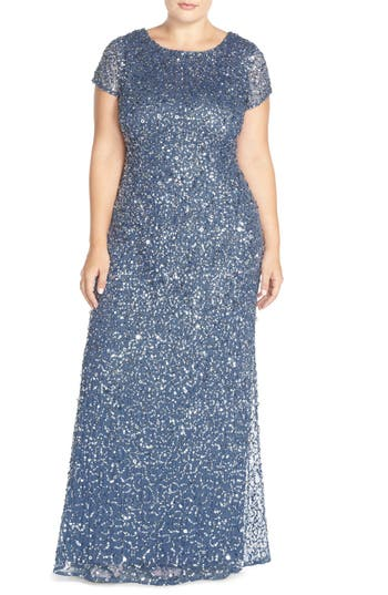 Plus Size Adrianna Papell Embellished Scoop Back Gown, Blue