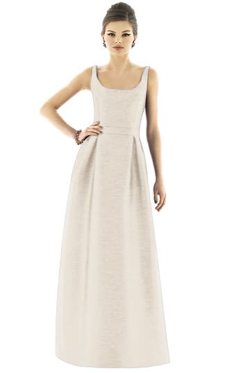 Alfred Sung Scoop Neck Dupioni Full Length Dress, Beige