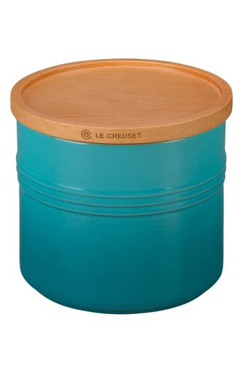 Le Creuset Glazed Stoneware 1 1/2 Quart Storage Canister With Wooden Lid, Size One Size - Blue/green