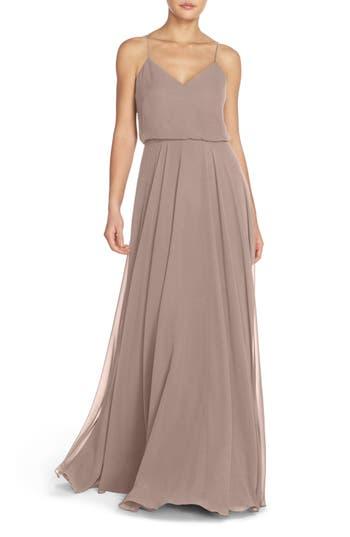 Jenny Yoo Inesse Chiffon V-Neck Spaghetti Strap Gown, Purple