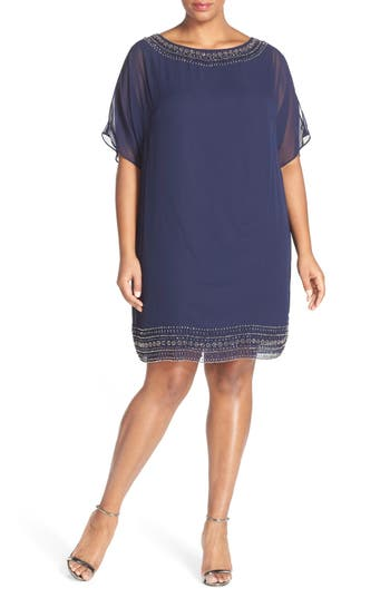 Plus Size Xscape Embellished Split Sleeve Chiffon Shift Dress