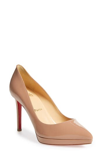Christian Louboutin Pigalle Plato Pointy Toe Platform Pump - Beige
