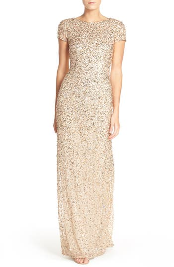 Adrianna Papell Short Sleeve Sequin Mesh Gown, Beige