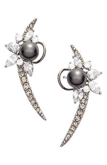 Nadri 'Pearl Essence' Cubic Zirconia Ear Crawlers