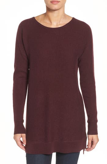 Halogen High/low Wool & Cashmere Tunic Sweater, Burgundy