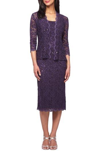 Women's Alex Evenings Lace Dress & Jacket, Size 8 - Purple