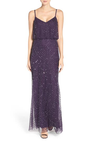 Adrianna Papell Embellished Blouson Gown, Purple