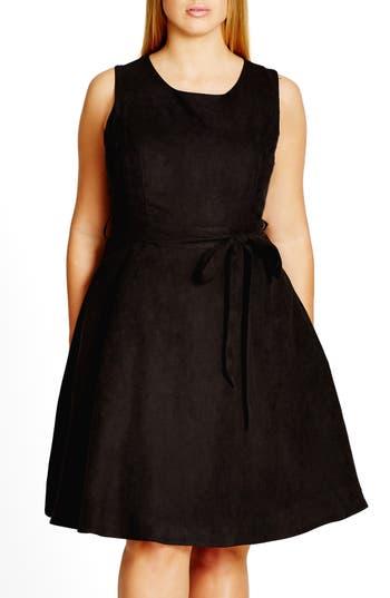 Plus Size City Chic Faux Suede Fit & Flare Dress