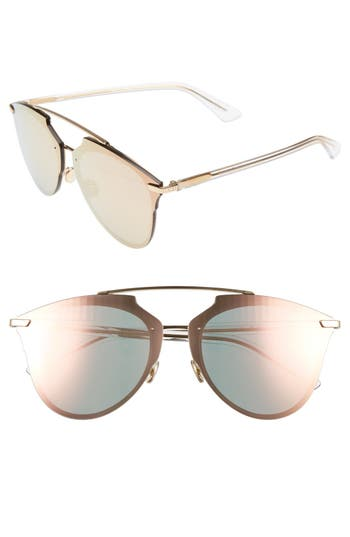 Women's Dior Reflected Prism 63Mm Oversize Mirrored Brow Bar Sunglasses - Gold/ Crystal
