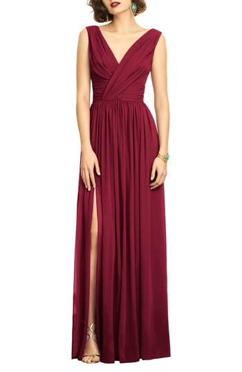Dessy Collection Surplice Ruched Chiffon Gown, Red