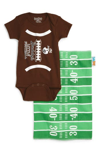 Infant Sara Kety Baby  Kids Football Fan Bodysuit  Burp Cloth Set