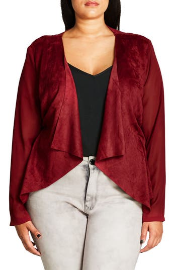 Plus Size Women's City Chic Sheer Sleeve Faux Suede Jacket