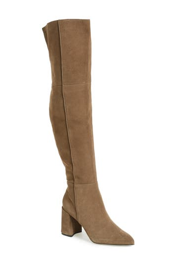 Topshop Bounty Pointy Toe Over The Knee Boot - Grey
