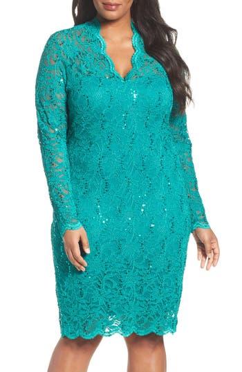 Plus Size Marina Sequin Stretch Lace Sheath Dress, Green