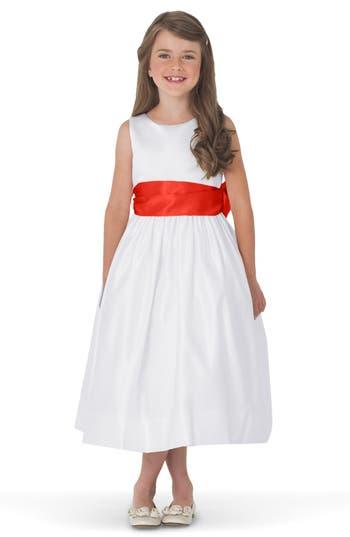 Girls Us Angels White Tank Dress With Satin Sash Size 4  Orange
