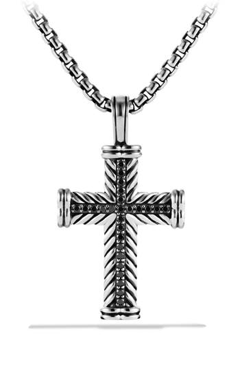 David Yurman 'Chevron' Cross Pendant with Black Diamonds