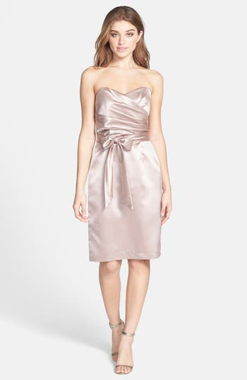 Dessy Collection Cross Draped Strapless Satin Sheath Dress, Beige