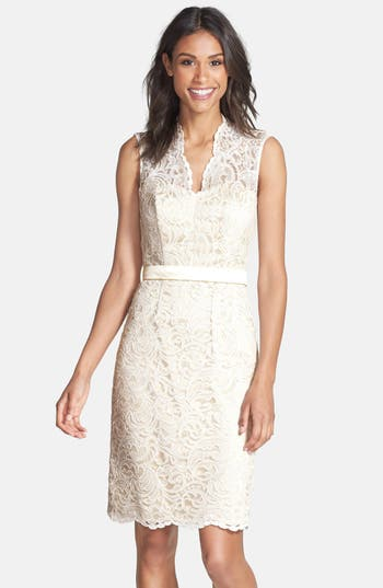 Dessy Collection Lace Overlay Matte Satin Dress, White