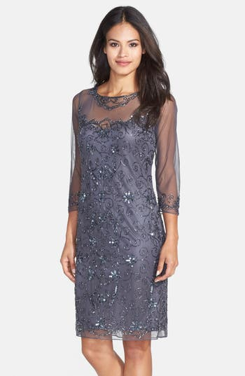 Pisarro Nights Beaded Mesh Sheath Dress, Grey