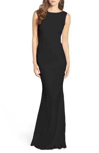 Katie May Drape Back Crepe Gown, Black