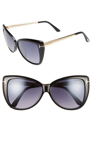 Tom Ford Reveka 5m Gradient Cat Eye Sunglasess - Black/ Rose Gold/ Silver Flash