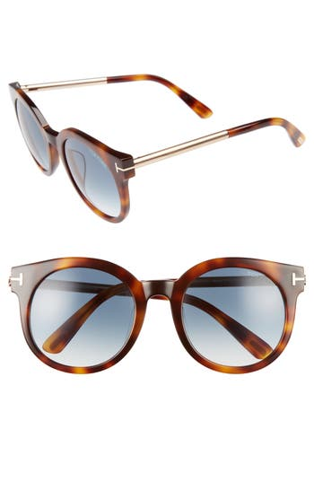 Tom Ford Janina 5m Special Fit Round Sunglasses - Dark Havana/ Gradient Green