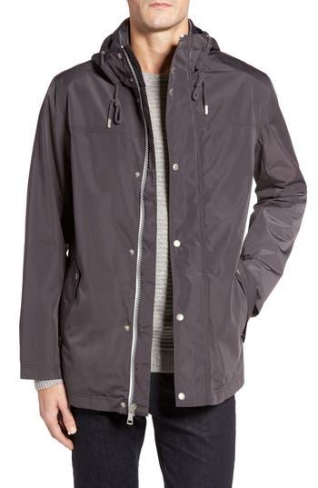 Cole Haan Packable Hooded Rain Jacket, Grey