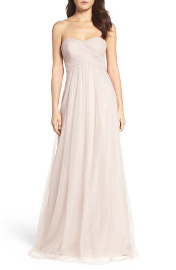 Wtoo Strapless Tulle Gown, Beige