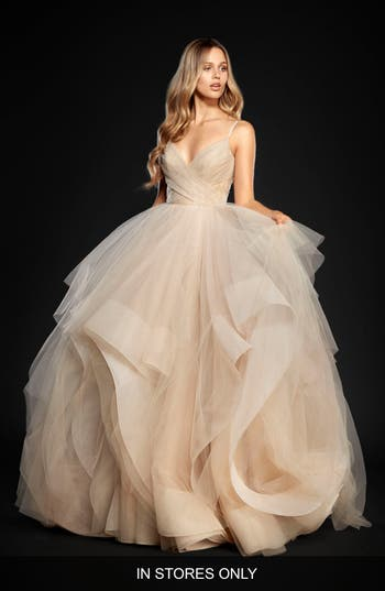 Hayley Paige Chandon Stardust Tulle Ballgown, Size IN STORE ONLY - Beige