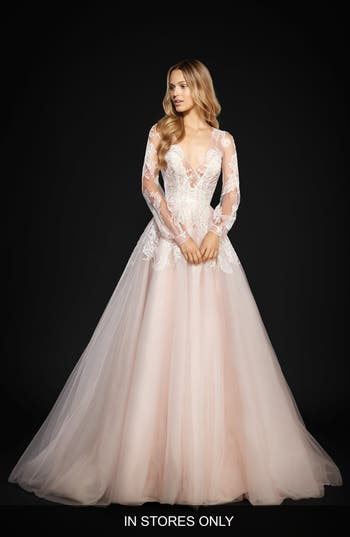 Hayley Paige Winnie Long Sleeve Lace & Tulle Ballgown, Size IN STORE ONLY - Ivory