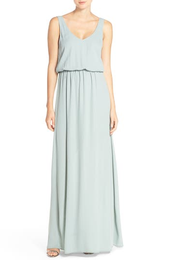 Show Me Your Mumu Kendall Soft V-Back A-Line Gown, Grey