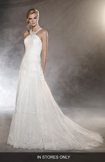 Pronovias Ospel Halter Lace Gown