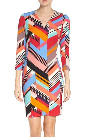 Eci Print Pique Sheath Dress