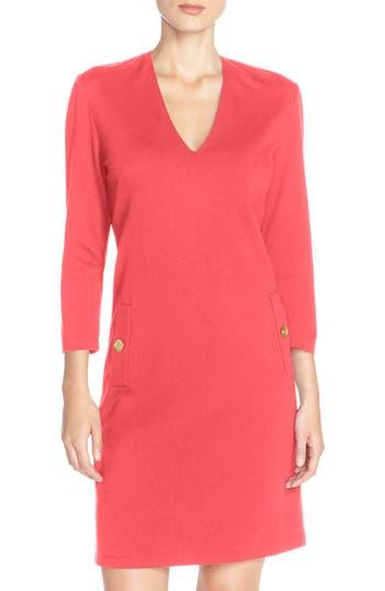 Eliza J Button Pockets Ponte A-Line Dress, Coral