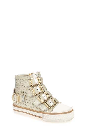 Toddler Girls Ash Vava Starboss Buckle Strap High Top Sneaker Size 8US  25EU  Metallic