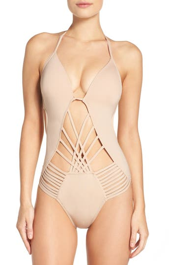 Kenneth Cole New York Push-Up One-Piece Swimsuit, Beige