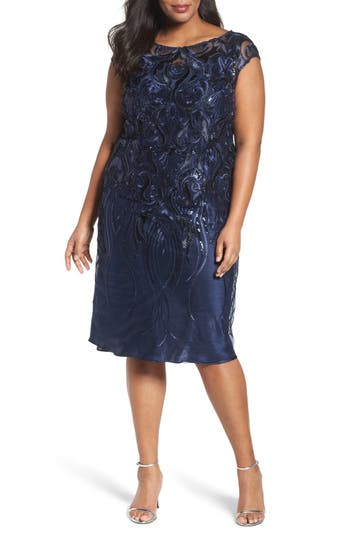 Plus Size Brianna Embellished Bateau Neck Cocktail Dress, Blue