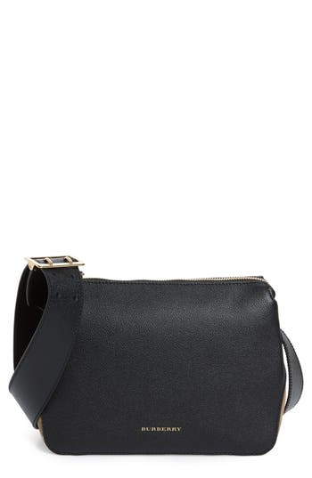 Burberry Helmsley House Check Leather Crossbody Bag - Black