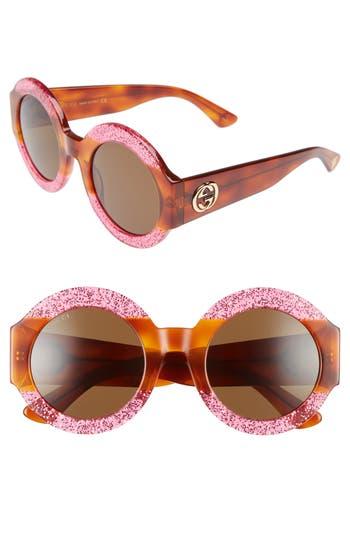 Women's Gucci 51Mm Round Sunglasses - Fuschia/ Brown
