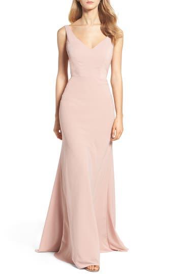 Jenny Yoo Delaney Tie Back V-Neck Gown, Pink