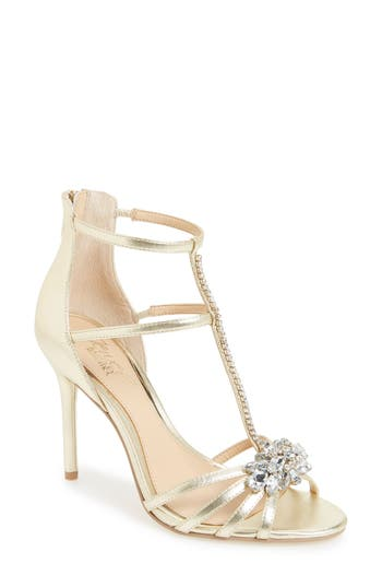 Jewel Badgley Mischka Hazel Embellished T-Strap Sandal- Metallic