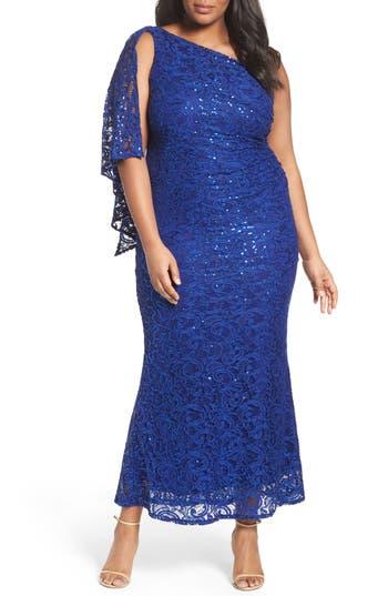 Plus Size Marina Sequin Lace One-Shoulder Gown, Blue