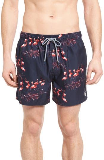 Men's Ted Baker London Kutut Flamingo Print Swim Trunks