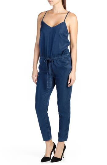 Paige Suki Crop Chambray Jumpsuit, Blue
