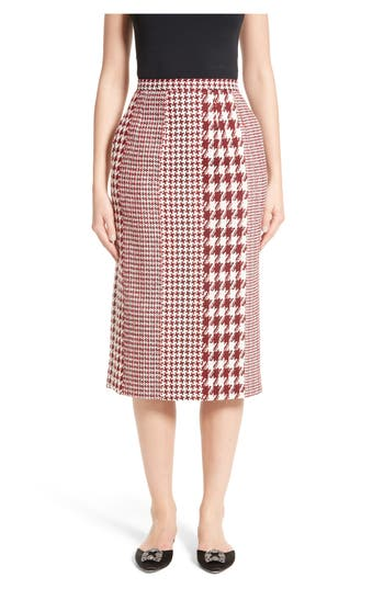 Women's Oscar De La Renta Houndstooth Pencil Skirt