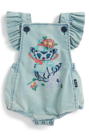 Infant Girl's Rock Your Baby Kitty Ruffle Romper
