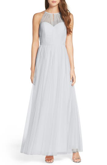 Wtoo Tulle Halter Neck Gown, Blue