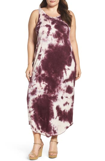 Plus Size Women's Sejour Tie Dye Maxi Tank Dress